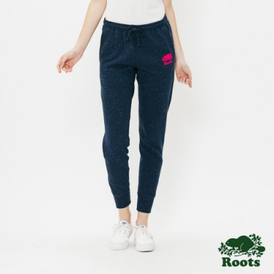 女裝Roots-結粒紗刷毛休閒棉褲-藍