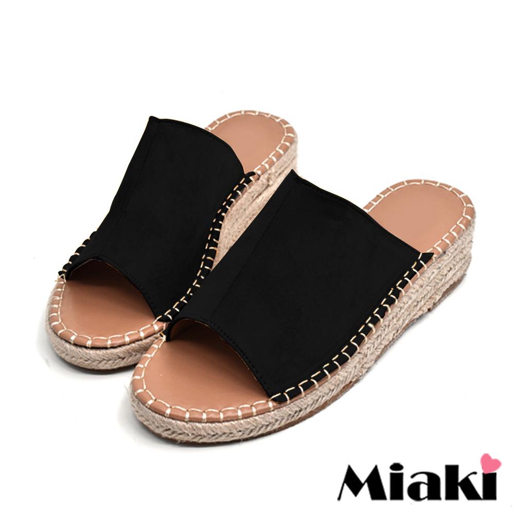 Miaki-楔型鞋南洋風編織露趾拖鞋-黑