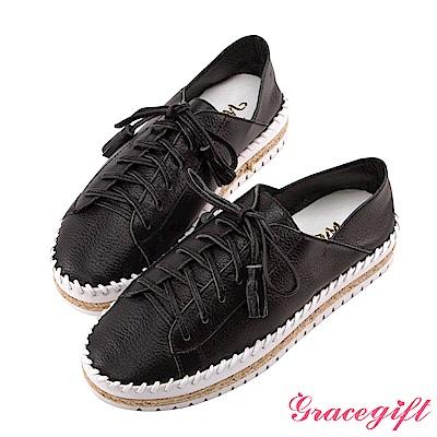 Grace gift X Wei唐葳-全真皮流蘇麻繩厚底休閒鞋 黑