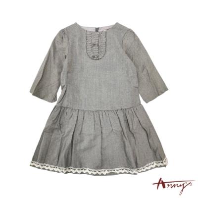 Annys優雅圓領荷葉蕾絲裙擺七分袖洋裝*8222灰
