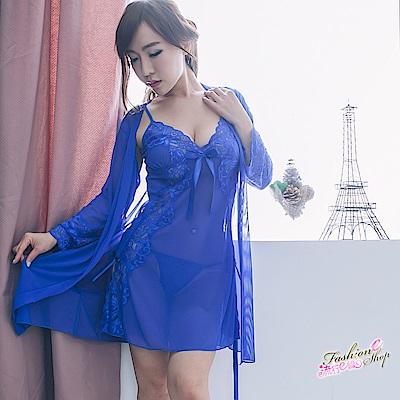 睡衣 3件式薄紗睡袍和服式性感睡衣含性感丁字褲 流行E線