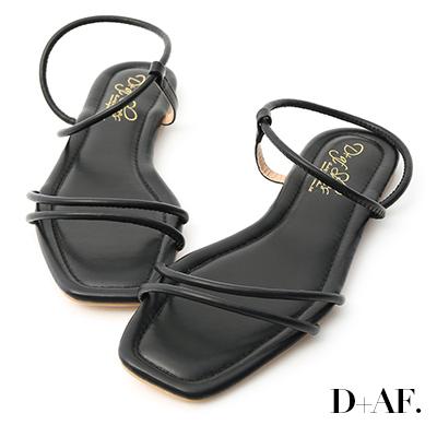 D+AF 清涼假期.二條細帶繞踝平底涼鞋*黑