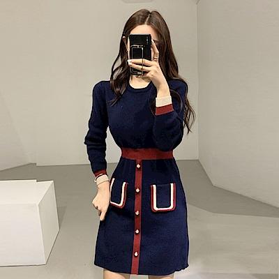 DABI 韓國風chic百搭修身假口袋裝飾長袖洋裝
