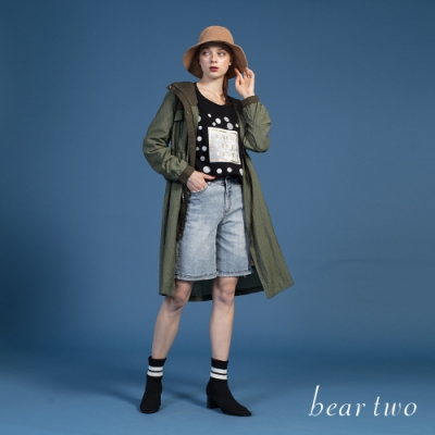 bear two-造型拼接連帽外套-綠