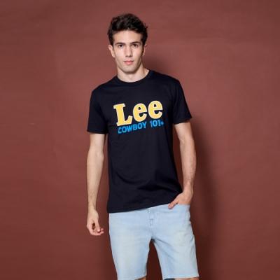 Lee 短T 黃色Lee COWBOY 101+文字印刷圓領T 男款 黑色