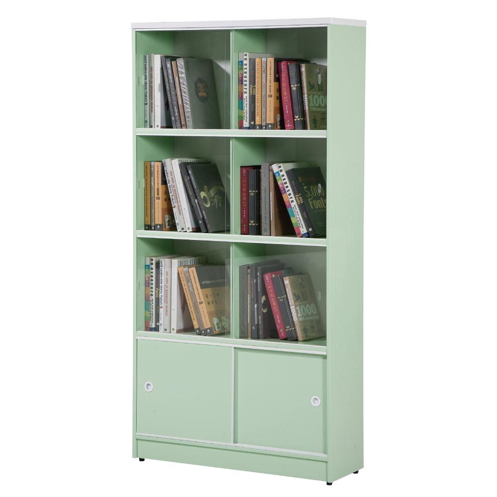 文創集 蘿倫環保3尺塑鋼推門開放式六格書櫃(八色)-90x40x180cm-免組