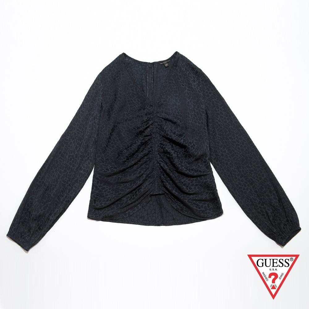 GUESS-女裝-豹紋V領長袖上衣-深藍 原價1990