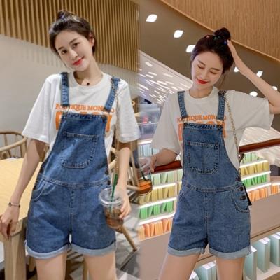 【韓國K.W.】(預購)韓時尚典雅連身牛仔吊帶褲-1色