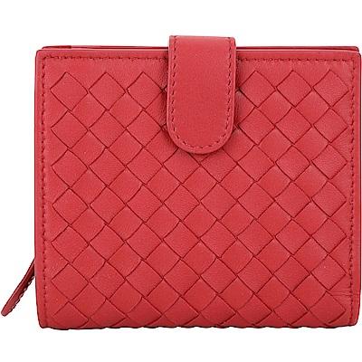 BOTTEGA VENETA 經典小羊皮編織釦式短夾(紅色)