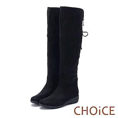 CHOiCE 冬日暖暖元素 柔軟毛呢布及膝兩穿長靴-黑色