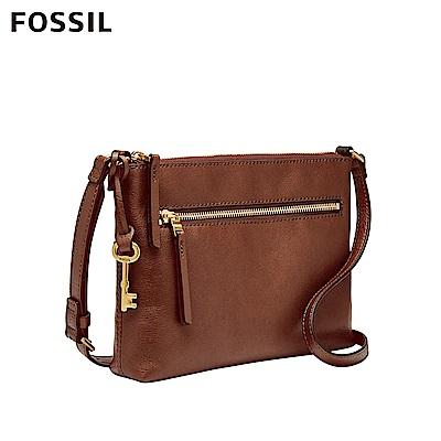 FOSSIL FIONA 真皮輕便休閒咖啡色斜背包 ZB7668200