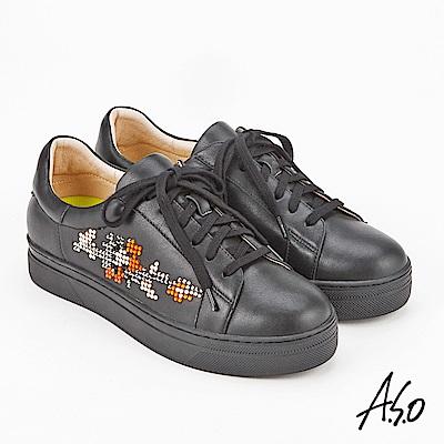 A.S.O 超彈力 全真皮水鑽綁帶休閒鞋 黑