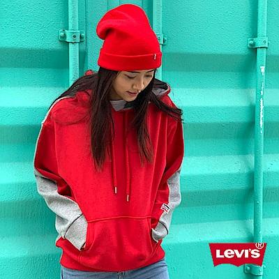 Levis 男女同款 帽T  3D立體LOGO  紅灰正反撞色