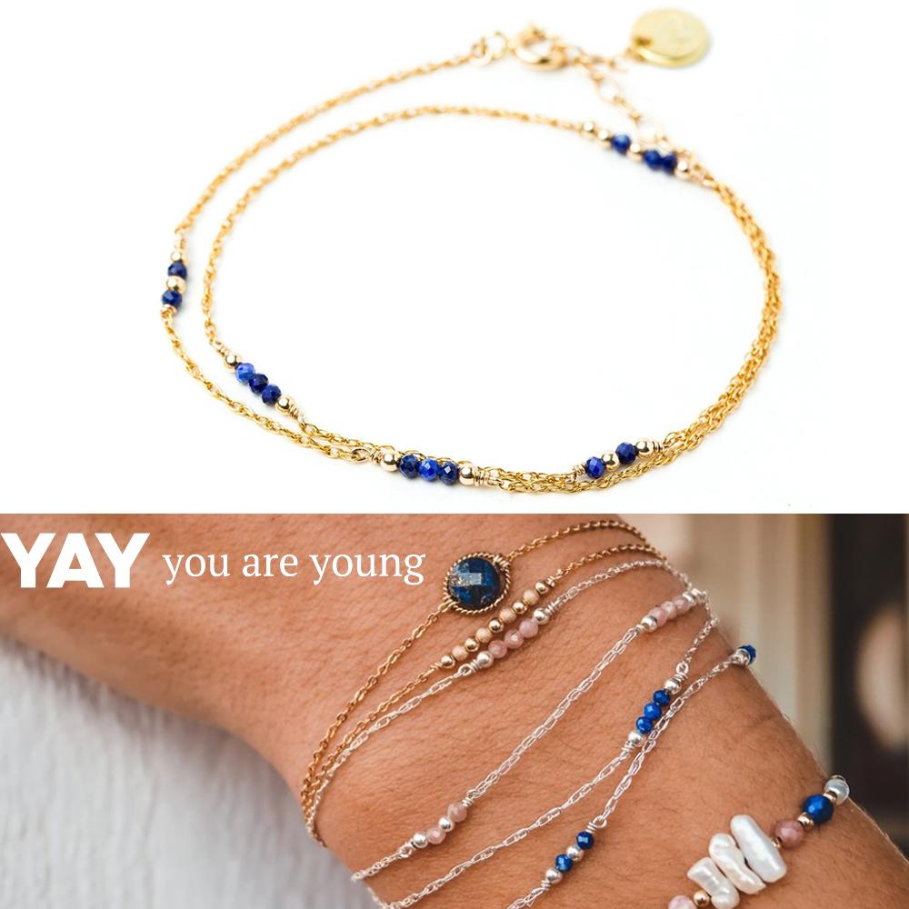 YAY You Are Young 法國品牌 Riviera 青金石手鍊 金色雙層款