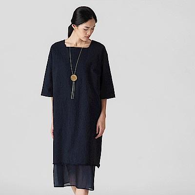旅途原品_心意 原創設計棉麻文藝寬鬆七分袖連衣中長裙-深藍