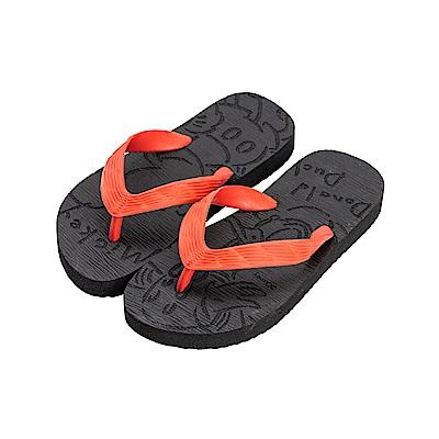 迪士尼童鞋 米奇 雷雕海灘夾腳拖鞋-黑