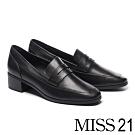 高跟鞋 MISS 21 經典俐落全真皮方頭樂福高跟鞋-黑