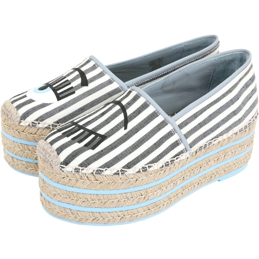 Chiara Ferragni Flirting 眨眼條紋帆布厚底草編鞋(灰白色)