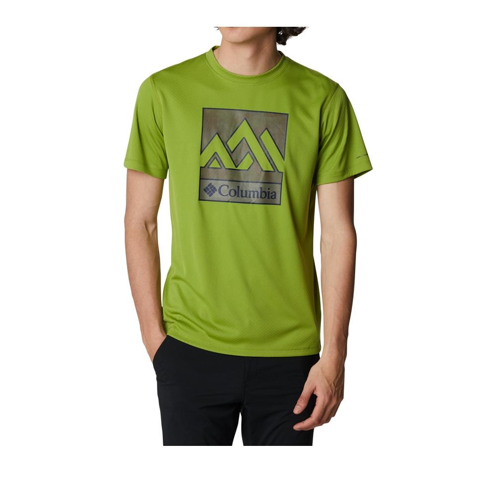 Columbia 哥倫比亞 男款- UPF30涼感快排LOGO短袖上衣- 活動款 UAE64630 (抹茶綠)
