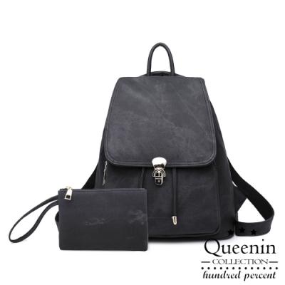 DF Queenin日韓 - 韓版簡約牛仔紋two-way後背包兩件組-黑色