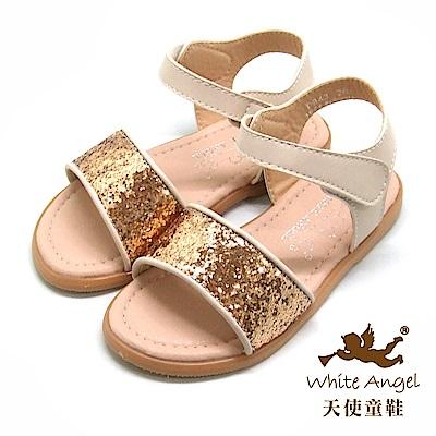天使童鞋 閃亮布蘭妮涼鞋(中-大童)D943-金