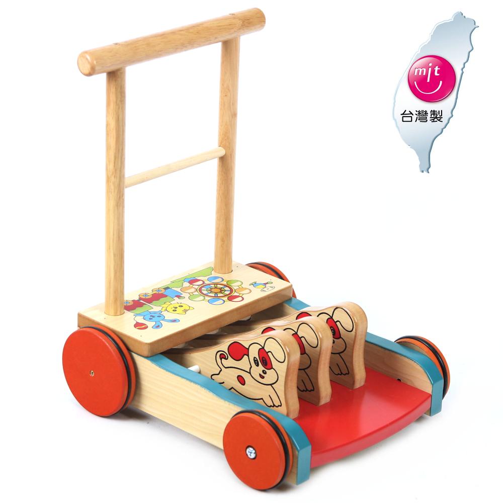 台灣製造 彩色原木防滑助步車