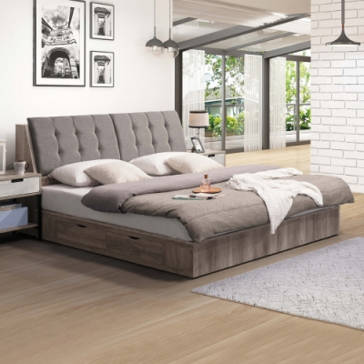Boden-維爾斯5尺工業風雙人床組(附插座床頭箱+二抽收納床底)(不含床墊)