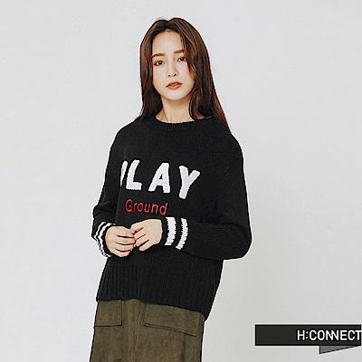 H:CONNECT 韓國品牌 女裝-play文字針織上衣-黑