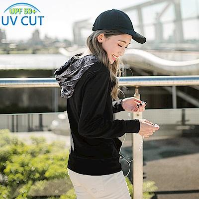 台灣製造~抗UV保暖磨毛數碼印花連帽上衣-OB大尺碼