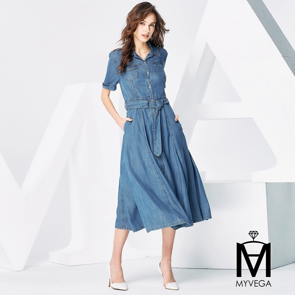 MYVEGA麥雪爾 MA仿丹寧排釦長洋裝-藍