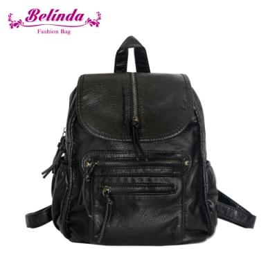 【Belinda】輕柔水洗個性純色後背包(個性黑)