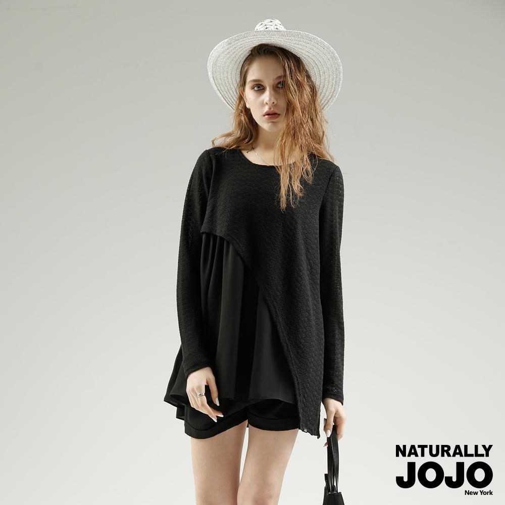 【NATURALLY JOJO】斜設計假兩件上衣(黑)
