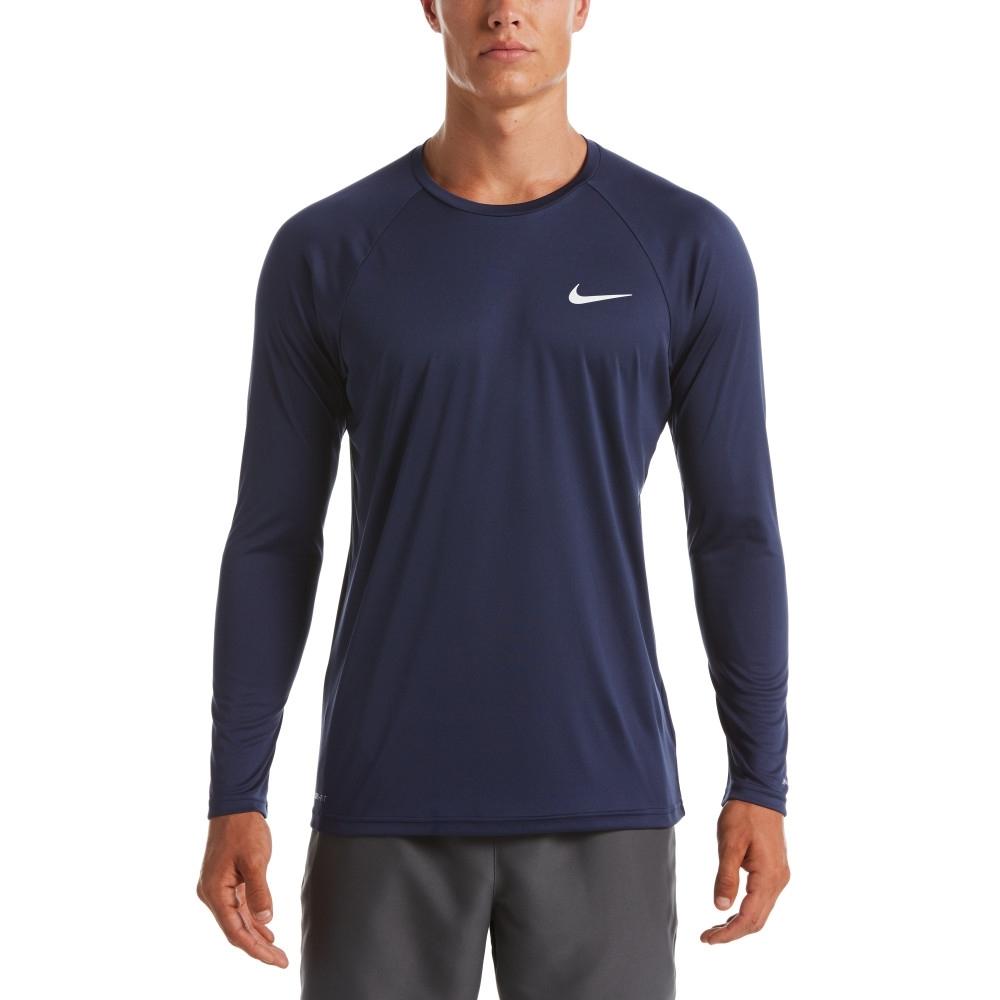 NIKE  成人 運動 長袖 上衣 防曬衣 男款 藍 NESSA587-440