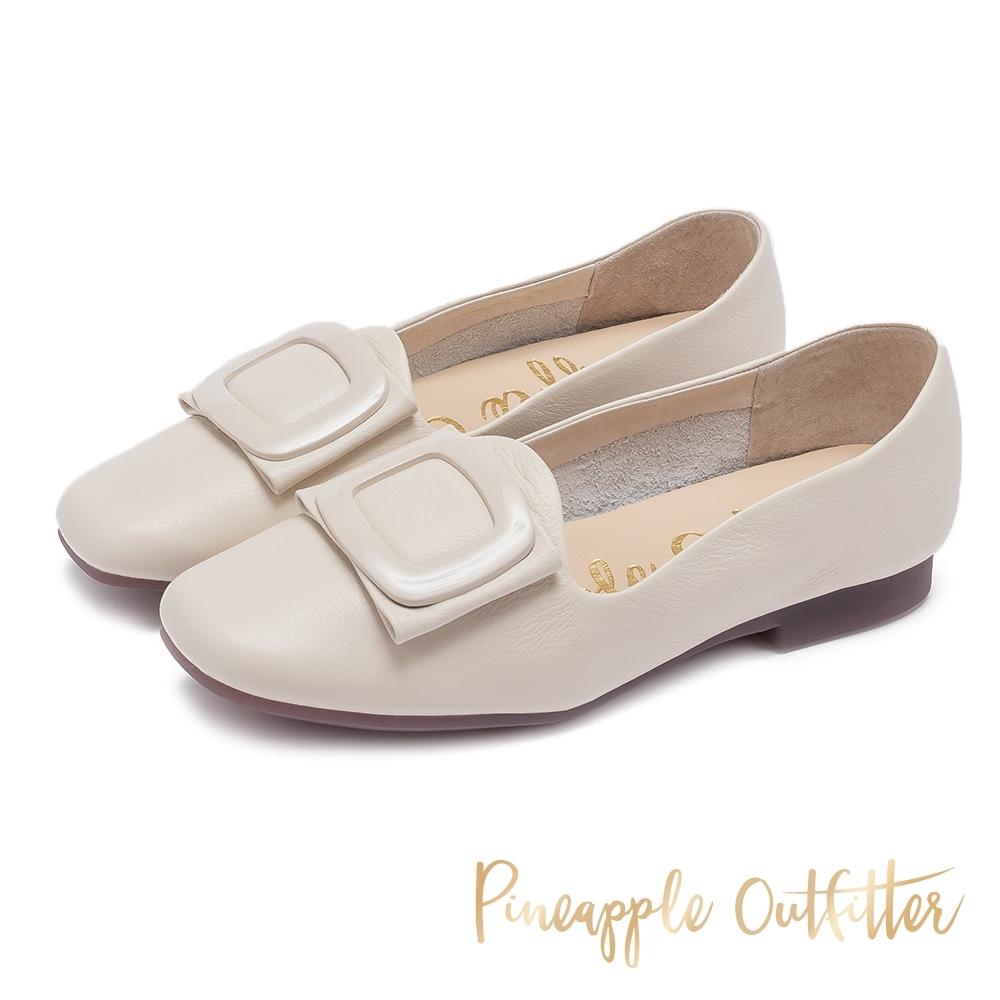 Pineapple Outfitter 英倫文青 金屬圓弧方扣飾平底樂福鞋-米白