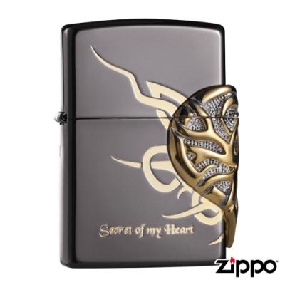美系Zippo 心之秘戀-黑金浮雕防風打火機#ZA-1-31c