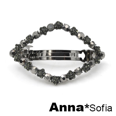AnnaSofia 立體弧度鏤空花晶 純手工小髮夾(菱形-灰晶系)