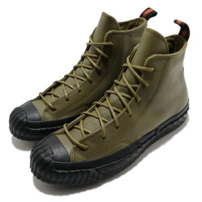 CONVERSE 休閒鞋 All Star 高筒 穿搭 男女鞋 基本款 皮革 簡約 質感 情侶鞋 綠 黑 168846C
