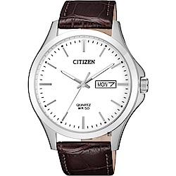 CITIZEN星辰 簡約石英錶-白x咖啡/40mm(BF2001-12A)