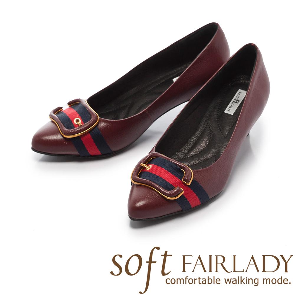 【FAIR LADY】Soft芯太軟 金邊框飾雙色帶尖頭跟鞋 酒紅