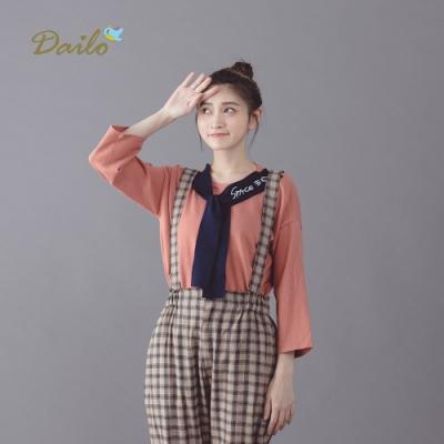 【Dailo】刺繡水手領結上衣(二色)