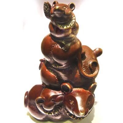 五子登科步步高升 雕塑大師羅廣維創作 鼠銅雕 禮品