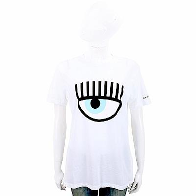 Chiara Ferragni Flirting 眨眼圖騰白色棉質短T恤