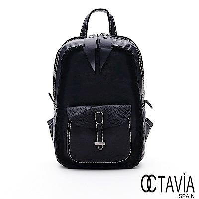 OCTAVIA8 真皮 -  印第安寶貝 全牛皮環繞縫線閃電拉頭迷你後背包 - 黑