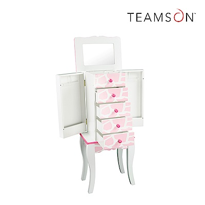 Teamson 艾芮娜時尚長頸鹿紋珠寶置物櫃子 (白)