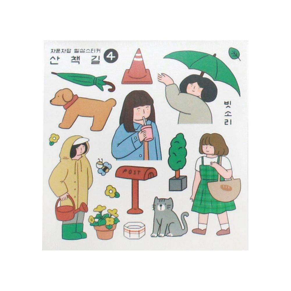 Indigo 女子日常自剪貼紙(4入)-04漫步街頭