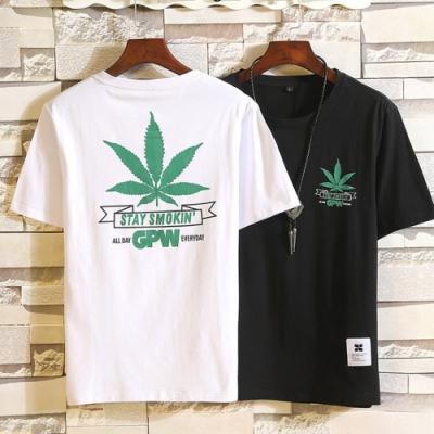 大麻葉印花百搭短袖上衣 二色-HeHa