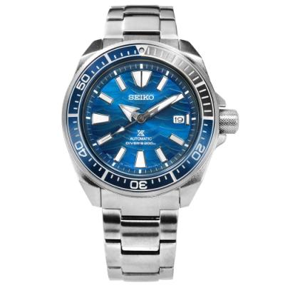 SEIKO 精工 PROSPEX 潛水錶 機械錶 防水200米 不鏽鋼手錶-藍色/44mm