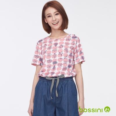 bossini女裝-圓領全版印花上衣06粉色