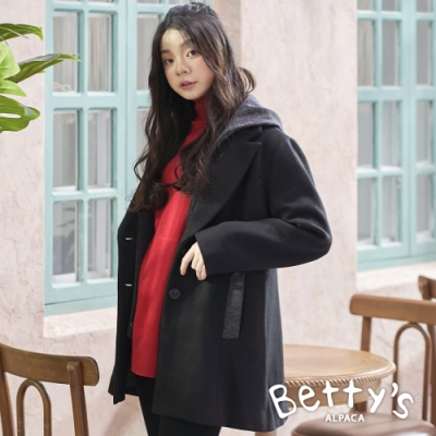 betty's貝蒂思 西裝領連帽毛呢大衣(黑色)