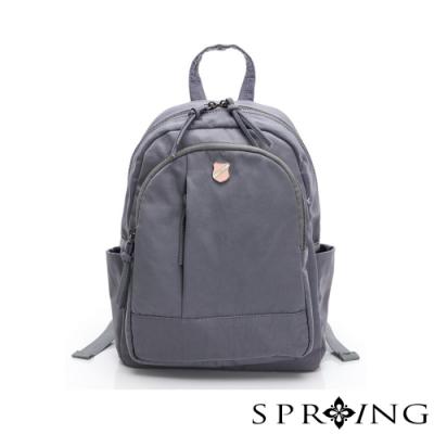 SPRING-復古質感系列天絲皺尼龍後背包A款-星空灰